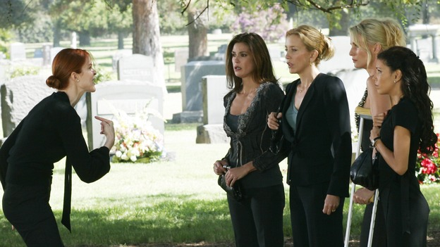 DESPERATE HOUSEWIVES - &quot;They Asked Me Why I Believe in You&quot; -- Susan's longtime book agent and dear friend, Lonny Moon (guest star Wallace Shawn), gets into financial trouble; Lynette is forced to go out to bars night after night with her man-hungry boss, Nina (guest star Joely Fisher); Bree re-buries Rex amid police suspicions, and Gaby hires hotshot lawyer David Bradley (guest star Adrian Pasdar) to defend Carlos, on Desperate Housewives,&quot; SUNDAY, OCTOBER 23 (9:00-10:01 p.m., ET) on the ABC Television Network. (ABC/RON TOM)MARCIA CROSS, TERI HATCHER, FELICITY HUFFMAN, NICOLLETTE SHERIDAN, EVA LONGORIA