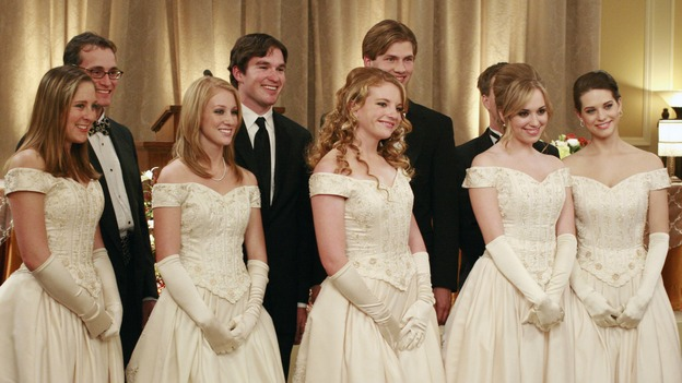 "DESPERATE HOUSEWIVES - ""In Buddy's Eyes"" -  Julie and Dylan at the Founders Day Ball, on Desperate Housewives,"" SUNDAY, APRIL 20 (9:00-10:02 p.m., ET) on the ABC Television Network. (ABC/RON TOM) (FAR RIGHT) ANDREA BOWEN, LYNDSY FONSECA"