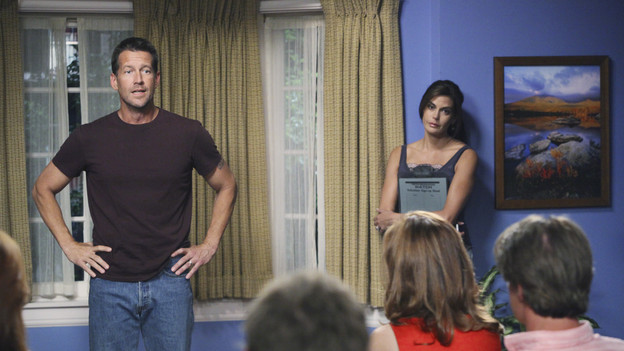 "DESPERATE HOUSEWIVES - ""Everybody Ought to Have a Maid"" - People are quick to pass judgment on others, on ABC's ""Desperate Housewives,"" SUNDAY, OCTOBER 25 (9:00-10:01 p.m., ET). When Juanita's party is on the verge of being ruined after Gaby is deemed a bad mom, Gaby is determined to prove she's a responsible parent; Bree gets defensive when she's judged by a motel maid for having an affair with Karl; Lynette is put off by her new handyman when he defers to Tom for approval on all things; and Susan and Katherine come to blows over Mike. Meanwhile, a lapse in judgment on Danny's part leads to a terrible mishap that Angie and Nick must cover up. (ABC/DANNY FELD)JAMES DENTON, DANA DELANY, TERI HATCHER"
