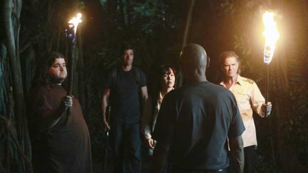 LOST - &quot;Everybody Loves Hugo&quot; - Hurley agonizes over what the group should do next, and Locke is curious about the new arrival to his camp, on &quot;Lost,&quot; TUESDAY, APRIL 13 (9:00-10:02 p.m., ET) on the ABC Television Network. (ABC/MARIO PEREZ) JORGE GARCIA, MATTHEW FOX, YUNJIN KIM, TERRY O'QUINN, JEFF FAHEY
