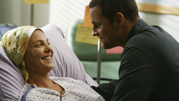 "GREY'S ANATOMY - ""Now or Never"" - Drs. Izzie Stevens and Alex Karev share a tender moment, celebrating her successful surgery and the return of her short-term memory, on ""Grey's Anatomy,"" THURSDAY, MAY 14 (9:00-11:00 p.m., ET) on the ABC Television Network. KATHERINE HEIGL, JUSTIN CHAMBERS"