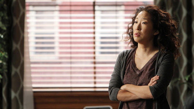 GREY'S ANATOMY - &quot;Support System&quot; - A devastated Cristina presses Owen to confess the intimate details of his affair; Mark takes his new authority very seriously when he steps in as chief for the day and butts heads with Richard over a patient's liver transplant; and Callie deems Meredith ready for the boards, while the rest of the residents continue to stress about the exam. Meanwhile, Callie, Arizona and Bailey plan a much needed ladies night for Teddy, on &quot;Grey's Anatomy,&quot; THURSDAY, APRIL 12 (10:01-11:00 p.m., ET) on the ABC Television Network. (ABC/ADAM LARKEY)SANDRA OH
