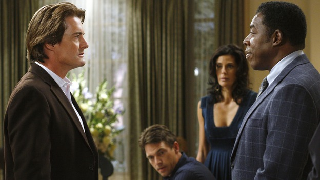"DESPERATE HOUSEWIVES - ""No Fits, No Fights, No Feuds"" - Detective Ridley returns to hassle Orson, on ""Desperate Housewives,"" SUNDAY, JANUARY 7 (9:00-10:01 p.m., ET) on the ABC Television Network. (ABC/RON TOM) KYLE MACLACHLAN, DOUGRAY SCOTT, TERI HATCHER, ERNIE HUDSON"
