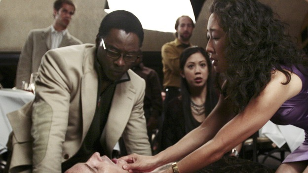 "GREY'S ANATOMY - ""Let It Be"" (ABC/SCOTT GARFIELD)ISAIAH WASHINGTON, KAI LENNOX, BRITTANY ISHIBASHI, SANDRA OH - BEHIND THE SCENES"