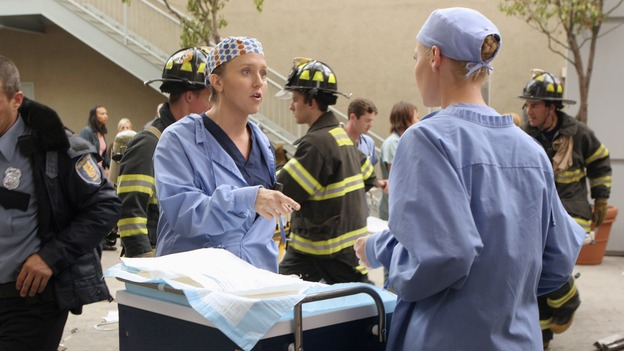 "GREY'S ANATOMY - ""Crash Into Me -- Part One"" - An ambulance crash endangers the lives of the paramedics involved, as Meredith and the Chief work on-site to save them, Bailey treats a patient who refuses her help, and Ava returns for Alex and meets his other girlfriend in the process, on ""Grey's Anatomy,"" THURSDAY, NOVEMBER 22 (9:00-10:02 p.m., ET) on the ABC Television Network. (ABC/MICHAEL DESMOND)BROOKE SMITH, KATHERINE HEIGL"