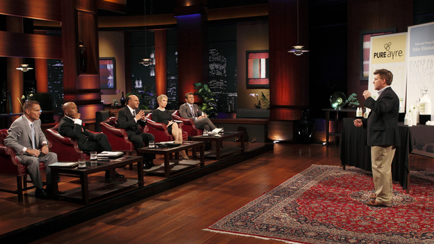 "SHARK TANK - ""Episode 206"" -- For the first time, there will be children seeking a business investment from the Sharks for an idea they came up with while on a family road trip. Also in this episode, a stay-at-home mom who taught herself carpentry and started a furniture business has the Sharks fighting for a piece of it; an entrepreneur brings an innovative secret formula to the Tank; and a personal trainer believes he has the next hot trend in fitness equipment.  In addition, there'll be a follow-up with Grill Charms' owner, Leslie Haywood, to see what making a deal with Robert Herjavec has done for her barbeque accessory, on ""Shark Tank,"" FRIDAY, APRIL 1 (8:00-9:00 p.m., ET) on the ABC Television Network. (ABC/CRAIG SJODIN)KEVIN HARRINGTON, DAYMOND JOHN, KEVIN O'LEARY, BARBARA CORCORAN, ROBERT HERJAVEC, JAMES MITCHELL (PURE AYRE)"