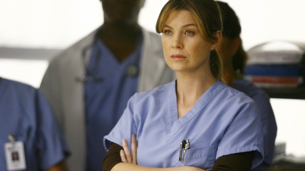 "GREY'S ANATOMY - ""Dream a Little Dream of Me"" - On the two-hour season premiere of ""Grey's Anatomy,"" Meredith and Derek learn that ""happily ever after"" isn't easy, a military doctor who brings in a trauma patient catches Cristina's eye, and the Chief and his staff reel at the news that Seattle Grace is no longer nationally ranked as a top-tier teaching hospital, on ""Grey's Anatomy,"" THURSDAY, SEPTEMBER 25 (9:00-11:00 p.m., ET) on the ABC Television Network. (ABC/SCOTT GARFIELD)ELLEN POMPEO"