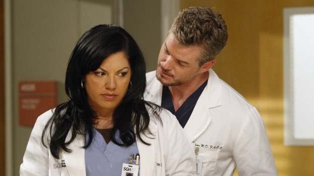 "GREY'S ANATOMY - ""The Becoming"" - The nurses' objections to McSteamy's trysts lead to the instating of a new ""date and tell"" policy. Meanwhile news of Burke's latest career achievements force Cristina to face her feelings for her ex, Meredith and Derek admit a veteran soldier into their clinical trial, and Callie turns to Sloan in her time of need, on ""Grey's Anatomy,"" THURSDAY, MAY 8 (9:00-10:02 p.m., ET) on the ABC Television Network.  (ABC/VIVIAN ZINK)SARA RAMIREZ, ERIC DANE"