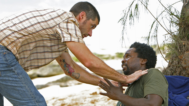 "LOST - ""Born to Run"" - Jack suspects foul play when Michael becomes violently ill while building the raft, on ""Lost,"" THURSDAY, MAY 11 on the ABC Television Network. (ABC/MARIO PEREZ) MATTHEW FOX, HAROLD PERRINEAU"