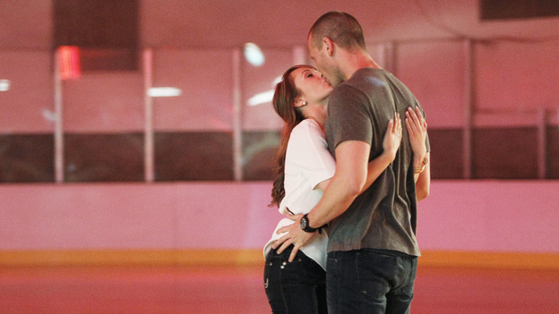 "THE BACHELORETTE - ""Episode 708"" - Ashley travels to Long Island, New York, where J.P. surprises her with a retro trip back to a roller skating rink. A few pratfalls and lots of laughs later, things turn serious as J.P. confesses that he is afraid to have his heart broken again after his last failed relationship. When Ashley visits his family, she realizes he isn't the only one who is worried about J.P. getting his heart broken again, on ""The Bachelorette,"" MONDAY, JULY 18 (8:00-10:01 p.m., ET), on the ABC Television Network. (ABC/LOU ROCCO)ASHLEY HEBERT, J.P."