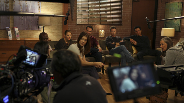 "PRIVATE PRACTICE - ""Who We Are"" - In the first hour or a special two-hour edition of ABC's ""Private Practice,"" THURSDAY, NOVEMBER 17 (9:00-11:00 p.m., ET) -- entitled ""Who We Are"" -- the Seaside Wellness group stages an intervention for a defensive and volatile Amelia, who has resurfaced after disappearing on a 12-day drug binge with her boyfriend, Ryan. During the intervention, Amelia mercilessly attacks her friends one-by-one, and Addison, in particular, has trouble seeing her sister-in-law in her present condition. (ABC/MATT KENNEDY)CATERINA SCORSONE, TAYE DIGGS, KADEE STRICKLAND, KATE WALSH, PAUL ADELSTEIN, TIM DALY, BENJAMIN BRATT, AMY MORTON"