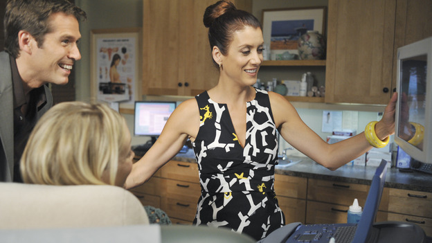 "PRIVATE PRACTICE - ""Serving Two Masters"" - Addison treats two pregnant women who unknowingly share the same husband, a visit from an Alzheimer's patient and her loving husband forces Sam and Naomi to look at their own relationship, Violet confronts Charlotte about her relationship with Cooper, and Dell reveals a very special woman in his life to his surprised co-workers, on ""Private Practice,"" WEDNESDAY, NOVEMBER 19 (9:00-10:01 p.m., ET) on the ABC Television Network. (ABC/ERIC MCCANDLESS)ALEXIS DENISOF, ALEXANDRA HOLDEN, KATE WALSH"