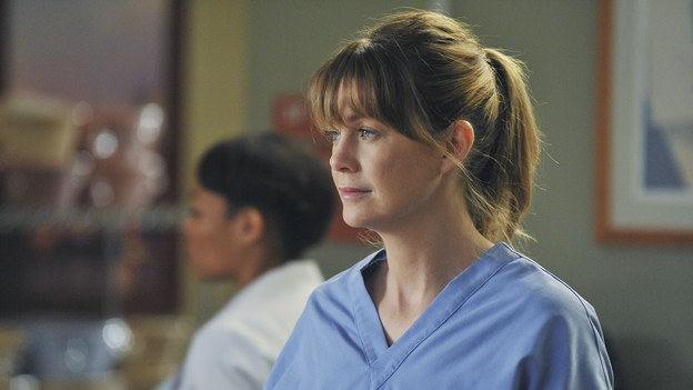"GREY'S ANATOMY - ""P.Y.T. (Pretty Young Thing)"" - Thatcher Grey, Meredith and Lexie's father, returns to Seattle Grace with stomach pains and a new, twenty-something tattooed girlfriend, Danielle. Meanwhile, Alex clashes with the new OB, Dr. Lucy Fields, over a patient and Mark places Jackson on his service in exchange for information on Lexie, on ""Grey's Anatomy,"" THURSDAY, FEBRUARY 10 (9:00-10:01 p.m., ET) on the ABC Television Network. (ABC/ERIC MCCANDLESS)ELLEN POMPEO"