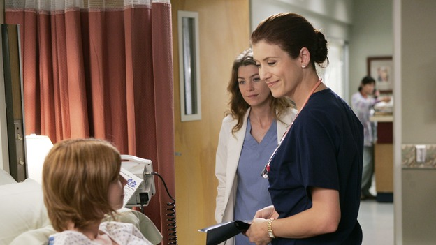 "GREY'S ANATOMY - ""Name of the Game"" - George begins to overstay his welcome at Burke's apartment; Meredith learns a secret about her father; Bailey worries her colleagues will not treat her the same now that she's a mother; and Alex gets a lesson in bedside manners, on ""Grey's Anatomy,"" SUNDAY, APRIL 2 (10:00-11:00 p.m., ET) on the ABC Television Network. (ABC/PETER ""HOPPER"" STONE)MANDY SIEGFRIED, ELLEN POMPEO, KATE WALSH"
