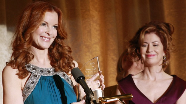 "DESPERATE HOUSEWIVES - ""In Buddy's Eyes"" - Bree and Katherine join forces to plan the Founders Day Ball, on Desperate Housewives,"" SUNDAY, APRIL 20 (9:00-10:02 p.m., ET) on the ABC Television Network. (ABC/RON TOM) MARCIA CROSS, DANA DELANY"