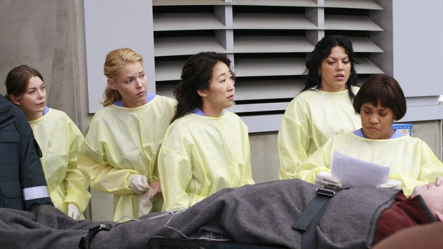 "GREY'S ANATOMY - ""Crash Into Me -- Part One"" - An ambulance crash endangers the lives of the paramedics involved, as Meredith and the Chief work on-site to save them, Bailey treats a patient who refuses her help, and Ava returns for Alex and meets his other girlfriend in the process, on ""Grey's Anatomy,"" THURSDAY, NOVEMBER 22 (9:00-10:02 p.m., ET) on the ABC Television Network. (ABC/RON TOM)ELLEN POMPEO, KATHERINE HEIGL, SANDRA OH, SARA RAMIREZ, CHANDRA WILSON"