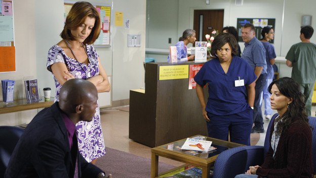 "PRIVATE PRACTICE - ""Right Here, Right Now"" - Miranda Bailey brings a kidney transplant patient to Los Angeles, and Addison isn't the only Oceanside Wellness doctor pleased to see her. Meanwhile the consequences of Addison's emotional affair with Noah catch up with her, and Sheldon and Pete finally discover who the father of Violet's baby is, on ""Private Practice,"" THURSDAY, OCTOBER 15 (10:01-11:00 p.m., ET) on the ABC Television Network. (ABC/MICHAEL DESMOND)TAYE DIGGS, KATE WALSH, CHANDRA WILSON, JOEY HONSA"