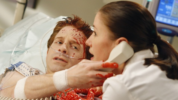 "GREY'S ANATOMY - ""Crash Into Me, -- Part Two"" - In the stunning conclusion of a two-part episode, Meredith furiously works to save the life of a paramedic trapped inside an ambulance, as her sister, Lexie, holds the life of a patient in her hands; Derek must rely on the help of a nurse to save a patient's life, as Bailey struggles to balance her personal life with her work, on ""Grey's Anatomy,"" THURSDAY, DECEMBER 6 (9:00-10:02 p.m., ET) on the ABC Television Network.  (ABC/VIVIAN ZINK)SETH GREEN, CHYLER LEIGH"