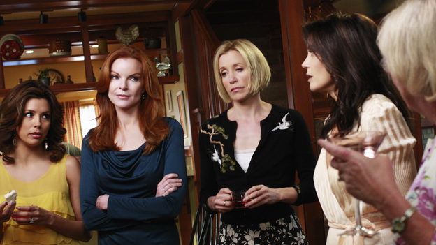 "DESPERATE HOUSEWIVES - ""Crime Doesn't Pay"" - When tact and kindness are not reciprocated, turnabout is fair play, on ABC's ""Desperate Housewives,"" SUNDAY, MARCH 8 (9:00-10:01 p.m., ET). In a gesture of friendship, Bree tells Lynette she'll help Tom secure a new job, but the best intentions will reach a tempestuous end and reveal Orson's shameful misdeeds; Gaby finds herself in a precarious position when Carlos' adulterous boss begins using her to cover for himself as he continues to cheat on his wife; and Edie digs into Dave's past after a chance encounter with an old acquaintance. (ABC/RON TOM)EVA LONGORIA PARKER, MARCIA CROSS, FELICITY HUFFMAN, TERI HATCHER, KATHRYN JOOSTEN"
