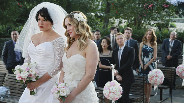 "GREY'S ANATOMY - ""White Wedding"" - As Callie and Arizona's wedding approaches, the couple quickly realize that the day they've been looking forward to is not turning out the way they'd envisioned. Meanwhile Alex continues to make the other residents jealous as he appears to be the top contender for Chief Resident, Meredith and Derek make a decision that will change their lives forever, and Dr. Perkins presents Teddy with a very tempting proposition, on Grey's Anatomy,"" THURSDAY, MAY 5 (9:00-10:01 p.m., ET) on the ABC Television Network. (ABC/RICHARD CARTWRIGHT)SARA RAMIREZ, JESSICA CAPSHAW, SANDRA OH, KEVIN MCKIDD, JAMES TUPPER, KIM RAVER"