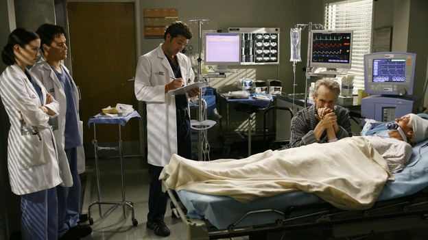 "GREY'S ANATOMY - ""Haunt You Every Day"" - It's Halloween, and the day is full of surprises for the doctors of Seattle Grace - Alex receives an unexpected and welcome visit from his former patient, Ava/Rebecca, Meredith is convinced that her mother's ashes are haunting her, Cristina is snubbed by a surgeon she admires, and Callie announces George and Izzie's affair to their fellow doctors, on ""Grey's Anatomy,"" THURSDAY, OCTOBER 25 (9:00-10:02 p.m., ET) on the ABC Television Network. (ABC/SCOTT GARFIELD)CHYLER LEIGH, T.R. KNIGHT, PATRICK DEMPSEY, DAVID CLENNON, BHAMA ROGET"