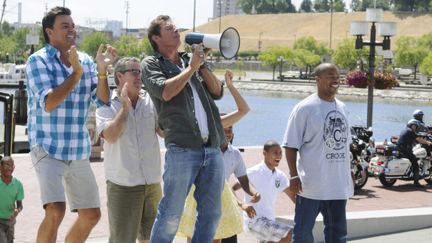 "EXTREME MAKEOVER: HOME EDITION - ""Boys Hope,"" Parts 1 & 2 - Ty Pennington and his design team, including new designers Xzibit and Jillian Harris, traveled to Baltimore, Maryland, to surprise the students of Boys Hope/Girls Hope in a unique way and reveal to them that their lives were about to change. For the first time in the history of the show, the recipients were surprised on live television when the ""EM: HE"" team greeted the students with the good news. Another first in the show's 170-plus episode history came unannounced, courtesy of Mother Nature, when an epic rainstorm threatened to knock the 11,000 square foot build off its strict seven-day schedule. Adding to the excitement, drama and fun of the build was the participation of the kids from the Emmy Award-winning comedy ""Modern Family"" (Ariel Winter, Nolan Gould, Rico Rodriquez), actress Raven-Symon, basketball superstar Shaquille O'Neal and music sensation Katy Perry. The two-part episode airs SUNDAY, SEPTEMBER 26 (7:00-8:00 & 8:00-9:00 p.m., ET) on the ABC Television Network. (ABC/FRED WATKINS)MICHAEL MOLONEY, PAUL DIMEO, TY PENNINGTON, XZIBIT"