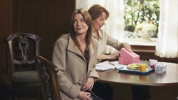 "GREY'S ANATOMY - ""Staring at the Sun"" - The O'Malley Family visits George at the hospital, Meredith is determined to have a more positive outlook on life, Derek and Addison strive for a civil relationship, and Richard endeavors to reunite with his wife, Adele, on ""Grey's Anatomy,"" THURSDAY, NOVEMBER 16 (9:00-10:01 p.m., ET) on the ABC Television Network. (ABC/KAREN NEAL)ELLEN POMPEO, KATE BURTON"