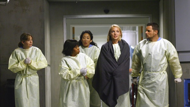 "GREY'S ANATOMY - ""Dream a Little Dream of Me"" - On the two-hour season premiere of ""Grey's Anatomy,"" Meredith and Derek learn that ""happily ever after"" isn't easy, a military doctor who brings in a trauma patient catches Cristina's eye, and the Chief and his staff reel at the news that Seattle Grace is no longer nationally ranked as a top-tier teaching hospital, on ""Grey's Anatomy,"" THURSDAY, SEPTEMBER 25 (9:00-11:00 p.m., ET) on the ABC Television Network. (ABC/SCOTT GARFIELD)ELLEN POMPEO, CHANDRA WILSON, SANDRA OH, KATHERINE HEIGL, JUSTIN CHAMBERS"