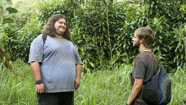 "102300_1122 -- LOST - ""Numbers"" - When Hurley becomes obsessed with the French woman and heads into the jungle to find her, Jack, Sayid and Charlie have no choice but to follow. Meanwhile, Locke asks Claire to help build a mysterious item, on ""Lost,"" WEDNESDAY, MARCH 2 (8:00-9:03 p.m., ET), on the ABC Television Network. (ABC/MARIO PEREZ)JORGE GARCIA, DOMINIC MONAGHAN"