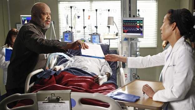 GREY'S ANATOMY - &quot;One Step Too Far&quot; - Derek encourages a hesitant Meredith to work with him again in neurology; Jackson's mother, Catherine Avery, returns to Seattle Grace with a urology fellow and develops an interest in Richard; and Cristina becomes increasingly suspicious of Owen's every move. Meanwhile, Alex tries to deny the fact that Morgan may be falling for him, on &quot;Grey's Anatomy,&quot; THURSDAY, MARCH 15 (9:00-10:02 p.m., ET) on the ABC Television Network. (ABC/VIVIAN ZINK)JAMES AVERY, SANDRA OH