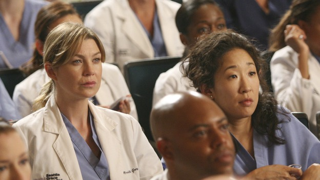 "GREY'S ANATOMY - ""Here Comes the Flood"" - Meredith and Cristina listen to the Chief as he lays out his new rules for SGH, on ""Grey's Anatomy,"" THURSDAY, OCTOBER 9 (9:00-10:01 p.m., ET) on the ABC Television Network. (ABC/DANNY FELD) CHYLER LEIGH, ELLEN POMPEO, SANDRA OH"