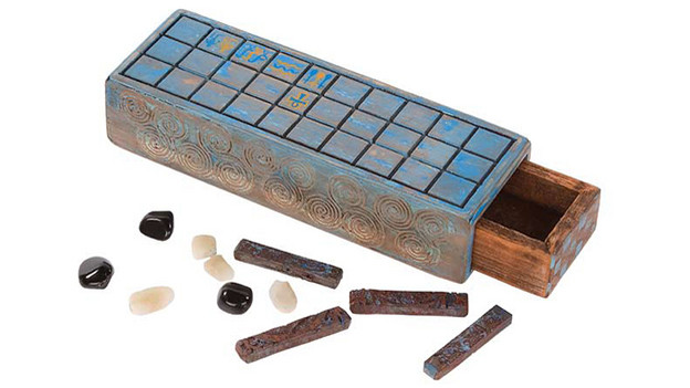 "Senet gameboard used by Jacob and the Manin Black In the episode, ""Across the Sea,"" a young Manin Black finds an intricately carved Senet gameboard on thebeach. He and Jacob frequently play this game throughouttheir years on the Island. Includes stone pieces and a woodenbox measuring 4 in. x 12 in. x 2 ½ in.Related content:EPISODE RECAP - ""Across the Sea"""