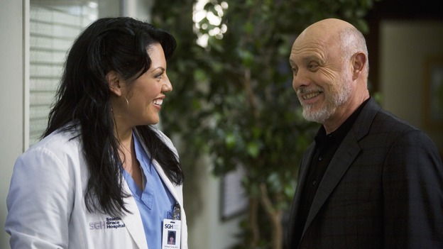 "GREY'S ANATOMY - ""Sweet Surrender"" - Dr. Callie Torres and her father, on ""Grey's Anatomy,"" THURSDAY, APRIL 23 (9:00-10:02 p.m., ET) on the ABC Television Network. (ABC/RANDY HOLMES) SARA RAMIREZ, HECTOR ELIZONDO"