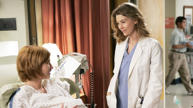 "GREY'S ANATOMY - ""Name of the Game"" - George begins to overstay his welcome at Burke's apartment; Meredith learns a secret about her father; Bailey worries her colleagues will not treat her the same now that she's a mother; and Alex gets a lesson in bedside manners, on ""Grey's Anatomy,"" SUNDAY, APRIL 2 (10:00-11:00 p.m., ET) on the ABC Television Network. (ABC/PETER ""HOPPER"" STONE)MANDY SIEGFRIED, ELLEN POMEO"