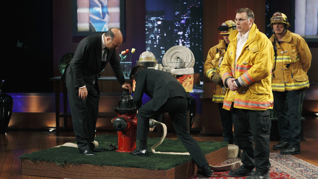 SHARK TANK -&quot;Episode 204&quot; -- Tempers flare when guest Shark Mark Cuban urges the entrepreneurs to stop negotiating with the other Sharks if they even want a chance to make a business deal with him. In this episode, a fireman from Arkansas brings an invention to the Shark Tank that could make millions and save lives; after creating an eco-friendly way to listen to music on the go, a duo from Chicago hope the Sharks will want to invest; a feisty, combative entrepreneur from Montclair, New Jersey seeks to cash in on the lucrative wedding business; and a man from Oklahoma hopes the Sharks will smell the money when he pitches his unique male-oriented brand of candles, on &quot;Shark Tank,&quot; FRIDAY, MAY 6 (8:00-9:00 p.m., ET) on the ABC Television Network. (ABC/CRAIG SJODIN)KEVIN O'LEARY, ROBERT HERJAVEC, JEFF STROOPE (HYCONN LLC.)