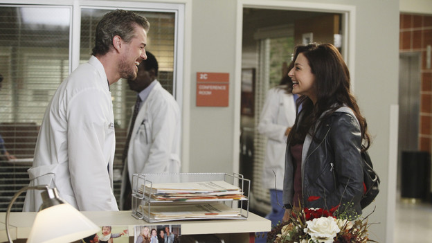 "GREY'S ANATOMY - ""Superfreak"" - When Derek receives an unexpected and unwelcome visit from his estranged sister, Amelia, issues between the siblings -- both past and present -- come to the surface; the Chief tries to help Alex when he notices that he's refusing to use the elevators after his near-fatal shooting; and Meredith and Derek continue their efforts to ease Cristina back into surgery after her post-traumatic stress, on ""Grey's Anatomy,"" THURSDAY, OCTOBER 7 (9:00-10:01 p.m., ET) on the ABC Television Network. (ABC/RICHARD CARTWRIGHT)ERIC DANE, CATERINA SCORSONE"