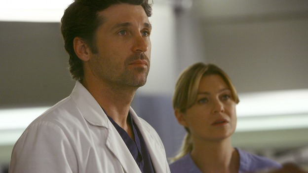 "GREY'S ANATOMY - ""Dream a Little Dream of Me"" - On the two-hour season premiere of ""Grey's Anatomy,"" Meredith and Derek learn that ""happily ever after"" isn't easy, a military doctor who brings in a trauma patient catches Cristina's eye, and the Chief and his staff reel at the news that Seattle Grace is no longer nationally ranked as a top-tier teaching hospital, on ""Grey's Anatomy,"" THURSDAY, SEPTEMBER 25 (9:00-11:00 p.m., ET) on the ABC Television Network. (ABC/SCOTT GARFIELD)PATRICK DEMPSEY, ELLEN POMPEO"