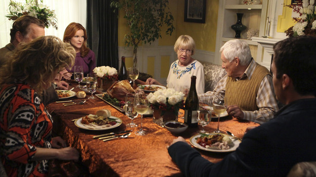 "DESPERATE HOUSEWIVES - ""Sorry Grateful"" - Thanksgiving on Wisteria Lane finds Gabrielle and Carlos hosting Carmen, Hector and Grace to a bountiful feast.  But the Solis's discover some surprising news about the Sanchez's that could threaten their time with Grace. Meanwhile, Bree invites Keith's parents (John Schneider and Nancy Travis) to partake in Thanksgiving at her house and learns some family secrets; Susan butts heads with Lynette over her sleep training techniques for baby Paige; Renee continues to remind Tom about their past; and Beth tries to uncover more about Paul's past misdeeds, on ""Desperate Housewives,"" SUNDAY, NOVEMBER 14 (9:00-10:01 p.m., ET) on the ABC Television Network. (ABC/DANNY FELD)JOHN SCHNEIDER, NANCY TRAVIS, MARCIA CROSS, KATHRYN JOOSTEN, ORSON BEAN, BRIAN AUSTIN GREEN"