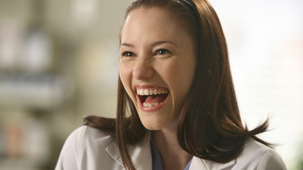 GREY'S ANATOMY - &quot;Here Comes the Flood&quot; - Lexie gets excited, on &quot;Grey's Anatomy,&quot; THURSDAY, OCTOBER 9 (9:00-10:01 p.m., ET) on the ABC Television Network. (ABC/DANNY FELD) CHYLER LEIGH