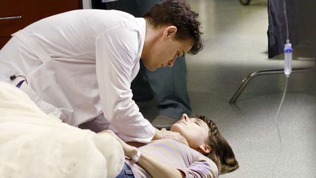 "GREY'S ANATOMY - ""Kung Fu Fighting"" - With his marriage in turmoil, the Chief turns to his fellow male surgeons for a ""gentleman's evening,"" Cristina and Izzie heatedly compete for the same surgeries and the favor of the doctor performing them, Meredith treats the survivor of a skydiving accident, and the doctors treat two injured finalists who are competing in a promotional competition, on ""Grey's Anatomy,"" THURSDAY, NOVEMBER 1 (9:00-10:07 p.m., ET) on the ABC Television Network. (ABC/RON TOM)T.R. KNIGHT, CHRYSSIE WHITEHEAD"