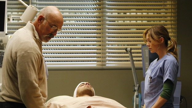 "GREY'S ANATOMY - ""The Becoming"" - The nurses' objections to McSteamy's trysts lead to the instating of a new ""date and tell"" policy. Meanwhile news of Burke's latest career achievements force Cristina to face her feelings for her ex, Meredith and Derek admit a veteran soldier into their clinical trial, and Callie turns to Sloan in her time of need, on ""Grey's Anatomy,"" THURSDAY, MAY 8 (9:00-10:02 p.m., ET) on the ABC Television Network.  (ABC/VIVIAN ZINK)JOHN M. JACKSON, BENNY CIARAMELLO, ELLEN POMPEO"