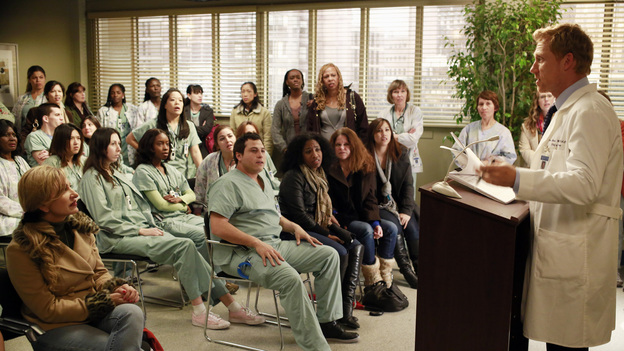 "GREY'S ANATOMY - ""Hard Bargain"" - As the hospital spirals closer to financial ruin, Owen must make some tough decisions, which includes foregoing an expensive surgery that could save the life of a child. Meanwhile, Alex and Jo work together to save the life of an infant, and April asks Jackson for dating advice, on ""Grey's Anatomy,"" THURSDAY, FEBRUARY 14 (9:00-10:02 p.m., ET) on the ABC Television Network. (ABC/RON TOM)KEVIN MCKIDD (FAR RIGHT)"