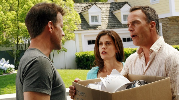 "DESPERATE HOUSEWIVES - ""Remember"" - A series of flashbacks take us back to moving-in day on Wisteria Lane for Bree, Susan, Gaby and Lynette, and to how Mary Alice Young brought them all together. Meanwhile Bree gets some frightening news, Susan moves into a trailer, Lynette discovers Tom's secret and all is not well in the house of Solis, on the two-hour Second-Season finale of ""Desperate Housewives,"" SUNDAY, MAY 21 (9:00-11:00 p.m., ET) on the ABC Television Network. (ABC/RON TOM)JAMES DENTON, TERI HATCHER, RICHARD BURGI"