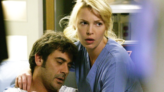 "GREY'S ANATOMY - ""17 Seconds"" - Finn gives a health update on Doc, Meredith is assigned to work with Callie for the day while George gets paired with Derek, and Burke and Izzie continue to try to find a heart for Denny, on part one of the season finale of ""Grey's Anatomy,"" SUNDAY, MAY 14 (10:00-11:00 p.m., ET) on the ABC Television Network. (ABC/BYRON COHEN)JEFFREY DEAN MORGAN, KATHERINE HEIGL"