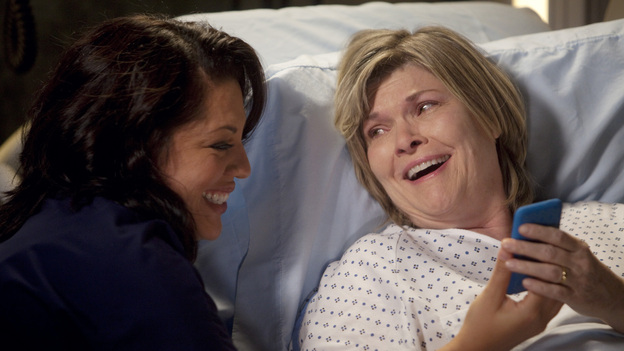 GREY'S ANATOMY - &quot;Heart-Shaped Box&quot; - The doctors become nostalgic when George O'Malley's mother, Louise, returns to Seattle Grace for medical help after a botched surgery at a neighboring hospital; the residents are inspired by a medical miracle when they witness a harvested heart that continues to beat outside the body; a new pediatric fellow excites Arizona and makes Alex feel threatened; Jackson lets his suspicions about Mark and Lexie interfere with his work; and Henry and Teddy have their first marital fight when he expresses interest in pursuing medical school, on &quot;Grey's Anatomy,&quot; THURSDAY, NOVEMBER 3 (9:00-10:02 p.m., ET) on the ABC Television Network. (ABC/RANDY HOLMES)SARA RAMIREZ, DEBRA MONK