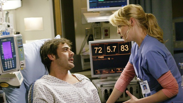 "GREY'S ANATOMY - ""17 Seconds"" - Finn gives a health update on Doc, Meredith is assigned to work with Callie for the day while George gets paired with Derek, and Burke and Izzie continue to try to find a heart for Denny, on part one of the season finale of ""Grey's Anatomy,"" SUNDAY, MAY 14 (10:00-11:00 p.m., ET) on the ABC Television Network. (ABC/BYRON COHEN) JEFFREY DEAN MORGAN, KATHERINE HEIGL"