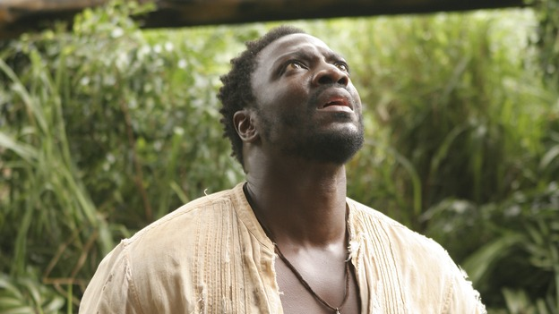 "LOST -- ""?"" - Mr. Eko enlists Locke to help find a secret location he believes houses answers to the island's mysteries. Meanwhile, Jack and the other survivors struggle to cope with the horrific situation in the hatch, on ""Lost,"" WEDNESDAY, MAY 10 (9:00-10:01 p.m., ET), on the ABC Television Network. (ABC/MARIO PEREZ)ADEWALE AKINNUOYE-AGBAJE"