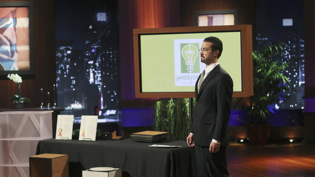 "SHARK TANK - ""Episode 302"" - The Sharks tear into the business idea of a Phoenix, AZ man who wants them to invest in a watch he claims provides health benefits; a stay-at-home mom from Gilbert, AZ could lose her gourmet pretzel business if she leaves the Tank without an investor; a man from Bozeman, MT with a no-tools-required furniture system hopes he can assemble a deal; and an inventor from Fullerton, CA has a small but powerful idea that could make him a millionaire. Also, Johnson Barley from Broken Arrow, OK, whose Original Man Candle did not spark a deal with the Sharks in Season Two, talks about his business since his appearance, on ""Shark Tank,"" FRIDAY, FEBRUARY 24 (8:00-9:00 p.m., ET) on the ABC Television Network. (ABC/MICHAEL ANSELL)JARED JOYCE (JARED JOYCE INC.)"
