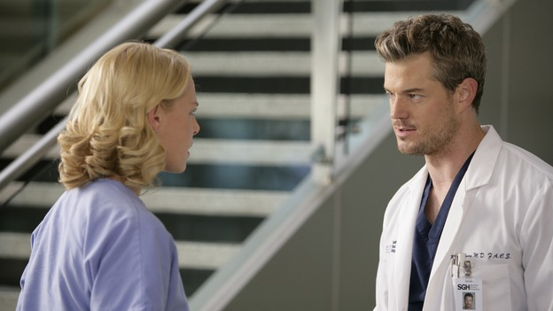 "GREY'S ANATOMY - ""Losing My Mind"" - Dr. Wyatt refuses to let Meredith give up on therapy, Alex learns the truth about Rebecca's medical condition, the Chief insists that Erica perform a risky surgery on his mentor, and after receiving news of Burke, Cristina continues to do things contrary to her nature, going so far as cleaning her always-messy apartment, on ""Grey's Anatomy,"" THURSDAY, MAY 15 (9:00-10:02 p.m., ET) on the ABC Television Network. (ABC/MITCH HADDAD)KATHERINE HEIGL, ERIC DANE"