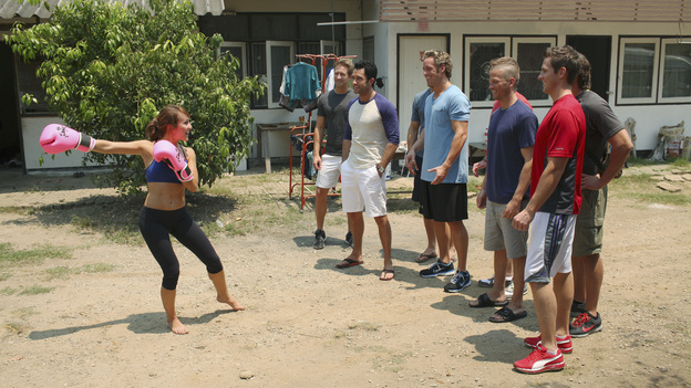 "THE BACHELORETTE - ""Episode 705"" - Eight men meet Ashley at an outdoor gym. Whether they are athletic or not, they aren't prepared for learning the traditional Thai art form of Muay Thai boxing. But the real drama begins when they learn they will fight each other in an open-air square in the middle of Chiang Mai in front of hundreds of rooting spectators. The date takes a terrifying turn when Ames is rushed to a local hospital after suffering a blow to the head. That night at the after-party, the somber mood is broken by a surprise visitor - and Ashley has a tough decision to make about who will get the rose, on ""The Bachelorette,"" MONDAY, JUNE 20 (8:00-10:01 p.m., ET), on ABC. (ABC/DAVE HAGERMAN)ASHLEY HEBERT, RYAN P., MICKEY, NICK, J.P., BLAKE"